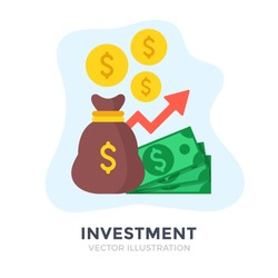 Investment. Flat design. Investing, money management, capital, banking, economic growth, financial plan concepts. Vector illustration