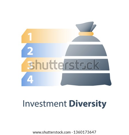 Investment fund structure, asset diversification, mutual fund concept, financial solution, stock market portfolio, hedge fund composition, capital consolidation, value distribution, vector icon Stockfoto ©