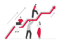 Investment Growth Concept. Business Characters Team Working and Holding Huge Growing Arrow, Leader Climbing on Top. Businesspeople Teamwork and Leadership. Cartoon Flat Vector Illustration, Line Art