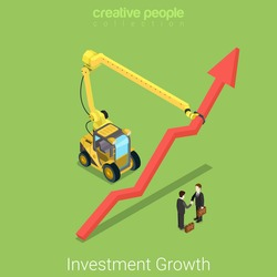Investment growth flat 3d isometry isometric real estate business partnership deal concept web vector illustration. Two businessmen handshake growing arrow indicator construction transport manipulator