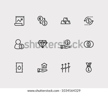 Investment icons set. Exchange and investment icons with petroleum, mutual funds and winner. Set of elements including salary for web app logo UI design.