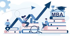 Investment in education concept banner. Online learning, education process background. Pile of books, business people or students use gadgets. MBA degree, new profession training. Vector illustration