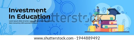 Investment in education concept Web Banner Design. students study on stack of books and stack of coins. saving money for education, scholarship, student loan. header or footer banner illustration