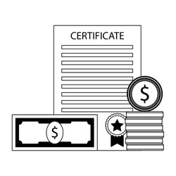 Investment in education. Money and certificate graduation. Vector illustration