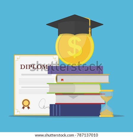 Investment in education. Stack of books, diploma, university student cap with coin and hourglass. Template design of money savings for study or business concept. Vector illustration