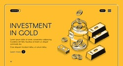 Investment in gold isometric landing page, dollar coins fall to glass jar with golden bars around, invest fund for increase money business, asset allocation 3d vector illustration, line art web banner
