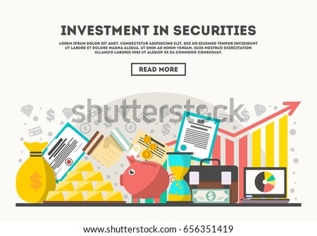 Investment in securities vector illustration. Flat line design concept for securities market, smart investment, strategic management for marketable securities, financial analysis and business planning