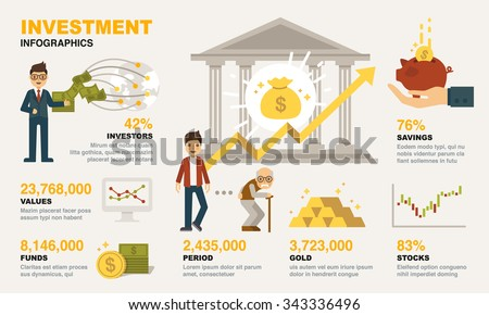 Investment Infographics. Included the graphic as investor, financial management, cash, retire plan, savings, funds and more.