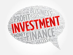 Investment message bubble word cloud collage, business concept background