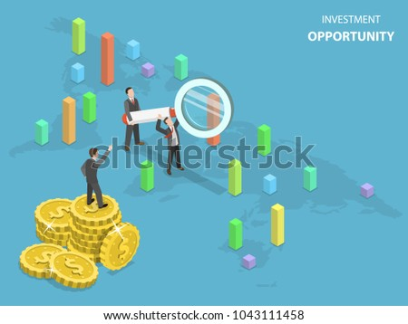 Investment opportunity flat isometric vector concept. Business Men using magnifying glass are searching capable locations in the Earth map for investing.