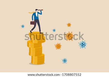 Investment opportunity in stock market, business to survive and win in Coronavirus COVID-19 outbreak economy crisis concept, businessman leader standing on money coins using telescope to vision future