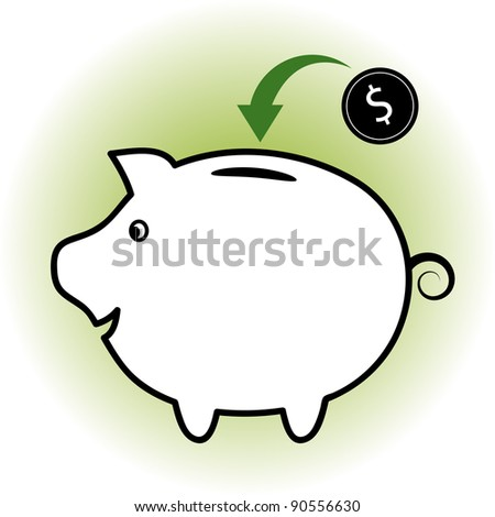 Investment or savings concept. Money dropping into a piggy bank.