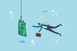 Investment risk or money trap, business fraud and cheating or financial pitfall and mistake concept, businessman diving into business ocean takes a bait to the hook fishing with money dollar banknote.