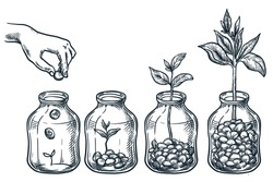 Investment, saving money and finance growth business concept. Human hand putting coin in clear glass jar. Hand drawn vector sketch illustration isolated on white background