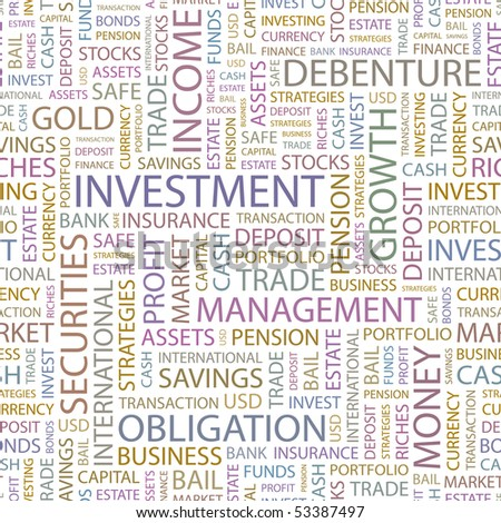 INVESTMENT. Seamless vector pattern with word cloud.