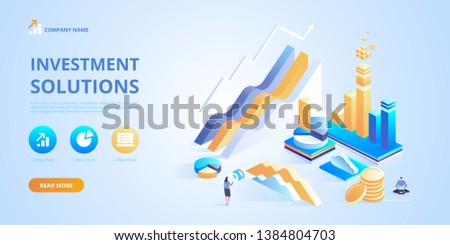 Investment solutions Bank development economics strategy Commerce solutions for investments analysis concept Analysis of sales statistic grow data accounting infographic Vector isometric illustration