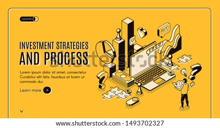 Investment strategies and process isometric web banner. Businessman stand at huge laptop with business icons and charts, financial instruments for money wealth growth 3d vector landing page, line art