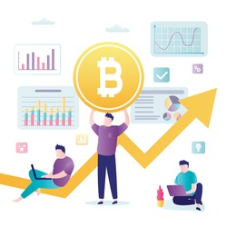 Investment strategies, business people invests in bitcoin. Cryptocurrency market, blockchain technology. Financial analysts make money on growth of bitcoin rate. Team of successful investors. Vector