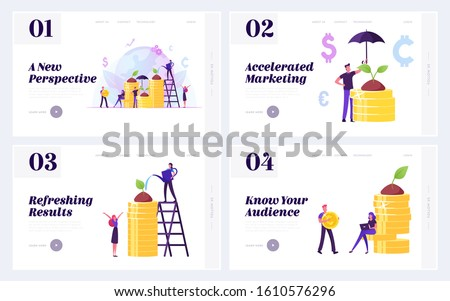 Investment Strategy, Corporate Social Responsibility Website Landing Page Set. Businesspeople Growing Plant on Pile of Golden Coins. Friendly Business Web Page Banner. Cartoon Flat Vector Illustration