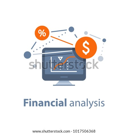 Investment strategy, financial analysis, hedge fund, venture business, mutual fund, trust management, interest rate, capital growth, data review on desktop, stock market and exchange, accountancy icon