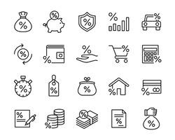 investment trade lending icons set; black line icons on white background.