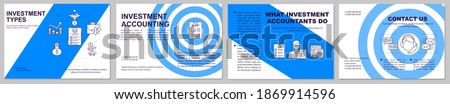 Investment types brochure template. Financial and economic literacy flyer, booklet, leaflet print, cover design with linear icons. Vector layouts for magazines, annual reports, advertising posters Сток-фото ©