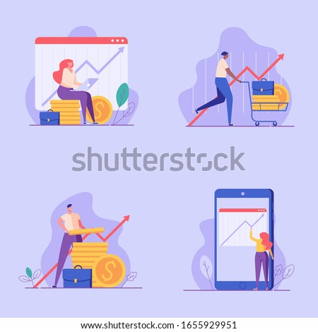 Investment UI illustrations in flat design. Concepts of invest analysis, return of investment, investment growth. People investing money with mobile service. Set of investment vector illustrations