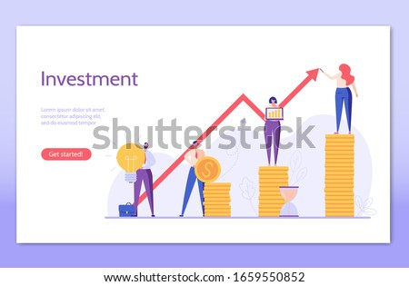 Investment UI illustrations in flat design. Concepts of invest analysis, return of investment, investment growth. People investing money mobile service. Landing page of investment vector illustration