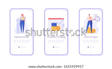 Investment UI onboarding screen illustrations. Concepts of invest analysis, return of investment, investment growth. People investing money with mobile service. Set of investment vector illustrations