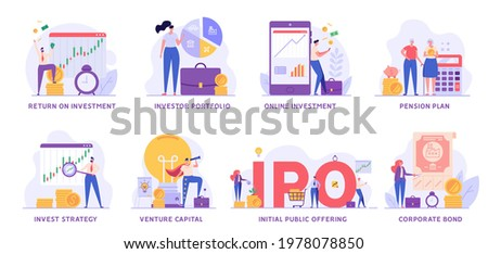 Investment Vector Illustration Set. People Investing Money , Receiving Passive Income, Saving Money. Collection of Investor Portfolio, Pension Plan, Venture Capital, Corporate Bond for Web Design