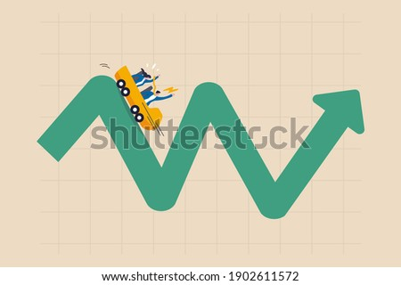 Investment volatility metaphor of riding roller coaster, financial stock market fluctuation rising up and falling down concept, people investors riding roller coaster on fluctuated market chart. Foto stock ©