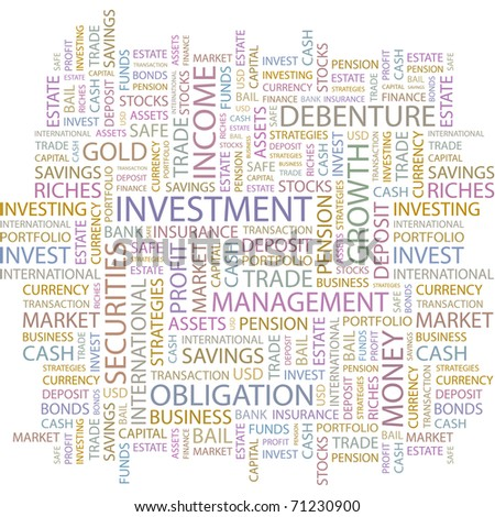 INVESTMENT. Word collage on white background. Vector illustration. Illustration with different association terms.