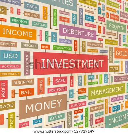 INVESTMENT. Word collage. Vector illustration.