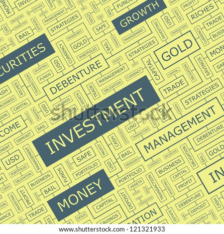 INVESTMENT. Word collage. Vector seamless illustration.