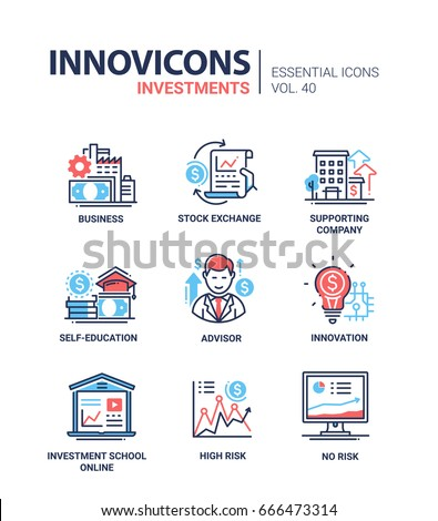 Investments - modern vector line design icons set. Business, stock exchange, supporting company, self-education, adviser, consultation, innovation, investment school online, high and no risk