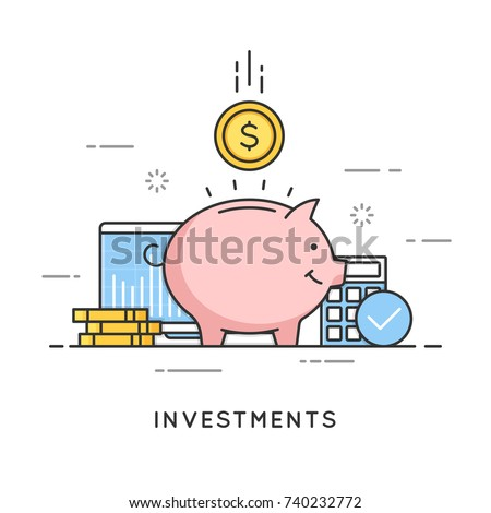 Investments, money savings, budget management, financial profit. Flat line art style concept. Vector banner, icon, illustration. Editable stroke.