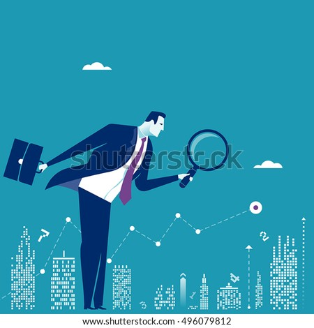 Investor. Businessman looking for investment opportunity. Concept business vector illustration