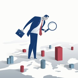 Investor. Businessman looking for investment opportunity standing on the map of Europe. Concept business vector illustration