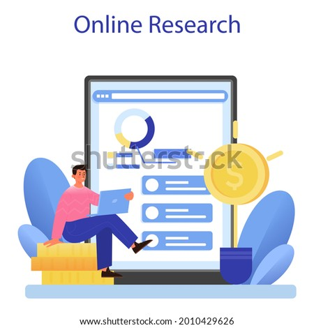 Investor relations online service or platform. Investings involvement and invested capital profitability. Online research. Vector flat illustration Foto d'archivio ©