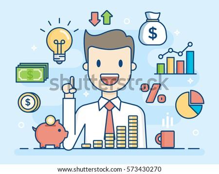 Investor. Smart Investment. Flat Line Illustration. Business Concept Illustration.