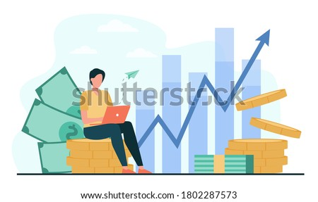 Investor with laptop monitoring growth of dividends. Trader sitting on stack of money, investing capital, analyzing profit graphs. Vector illustration for finance, stock trading, investment concept
