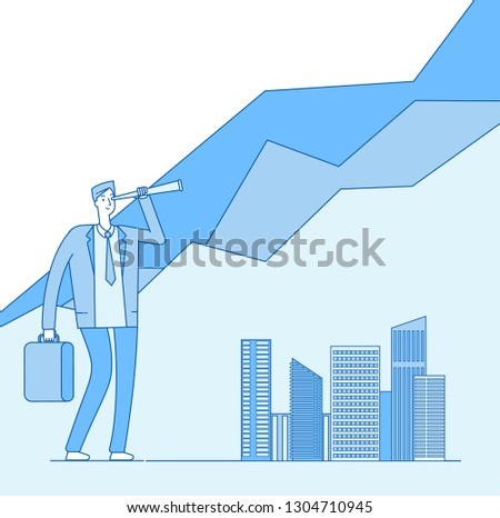 INVESTORS OPPORTUNITIES. Investor looking spyglass investment opportunity. Successful professional businessman finance vector concept