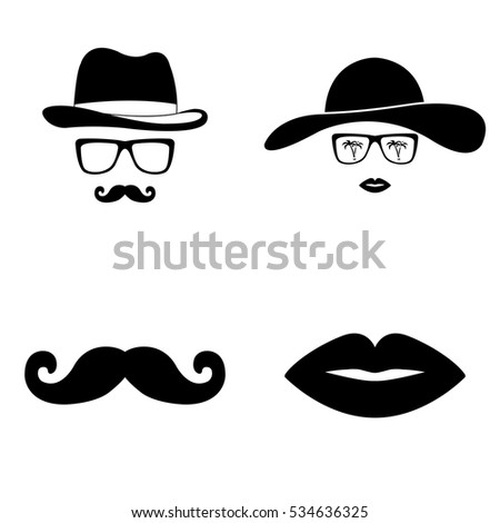 Invisible man and woman icons vector set