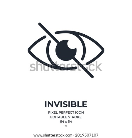 Invisible sign editable stroke outline icon isolated on white background flat vector illustration. Pixel perfect. 64 x 64.