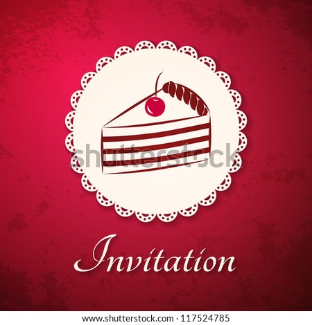 Invitation applique card / background. Badge with cake on grunge cherry background.