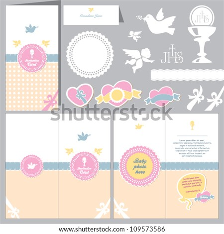 Invitation baby card. Baptism invitation. Christening card. First communion. - stock vector