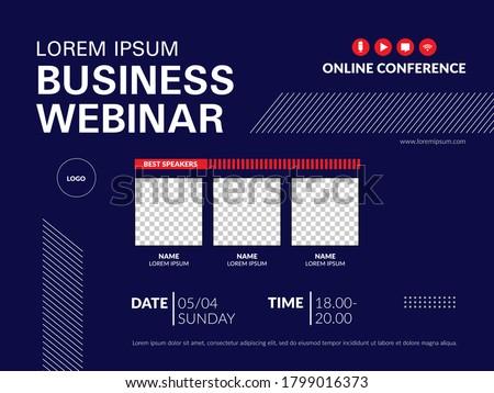 Invitation banner to the online conference. Business webinar invitation design.