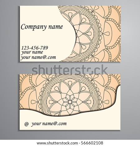 Invitation, business card or banner with text template. Round floral vector ornament. Lace. National pattern.  Islam, Arabic, Indian, turkish, pakistan, chinese, ottoman motifs.