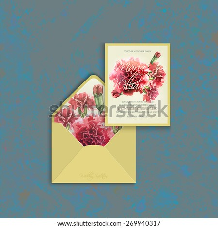 Invitation Card And Envelope Template With Watercolor Red
