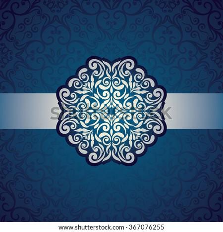invitation card baroque blue